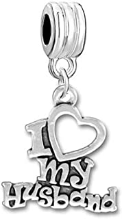 Sexy Sparkles I Love My Husband Charm Dangle Bead Compatible with Snake Chain Bracelets