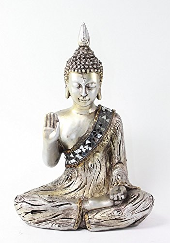 W Feng Shui 11' Silver Thai Buddha Fear Not Mudra & Welcome Mudra Home Decor Statues(G16514)