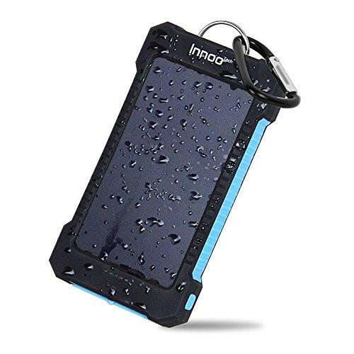 Innoo Tech 10000mAh Duale USB Ports Solar Ladegerät Solar Power Bank mit LED-Statusanzeige und LED Taschenlampe IP65 Wasserdicht, Stossfest und Staubdicht
