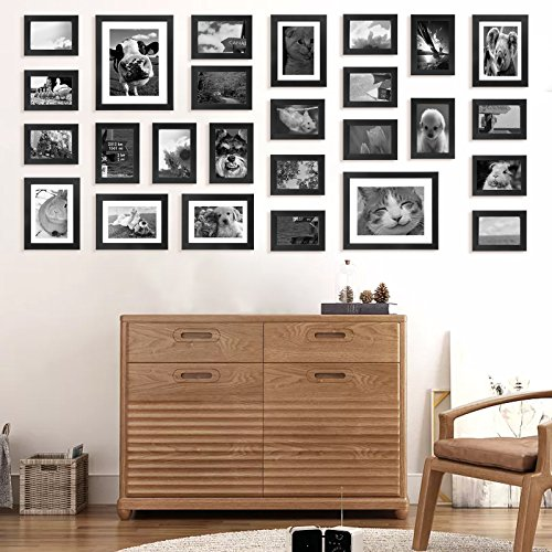 Voilamart Picture Frames Set of 26, Multi Pack Photo Frame Set Wall Gallery Kit - Display Two 8x10 in, Five 5x7 in, Seven 4x6 in, Twelve 3.5x5 in, with Wall Template and Hanging Hardware, Black