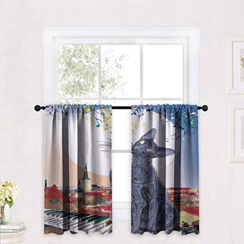 ScottDecor Cat Printed Tier Curtains Black Cat on Rooftop of Old Apartment in Sunset Horizon with Musical Notes and Keyboard 30 x 30 inch Kitchen Window Treatment Curtains