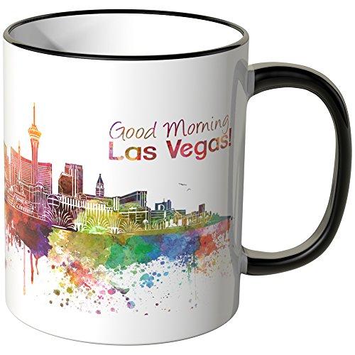 WANDKINGS® Tasse, Schriftzug Good Morning Las Vegas! mit Skyline - SCHWARZ