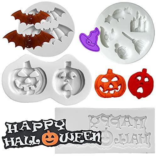 MEZHEN Stampi in Silicone Fondente Stampo Halloween Decorazioni Torte Zucca Stampi Torta Decorazione di Cottura Cioccolato Happy Halloween Stampi Caramelle