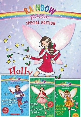 Rainbow Magic Christmas Fairies Set of 4 with Glitter Snowflake Charm Bracelet, Paige the Christmas Play Fairy, Holly the Christmas Fairy, Natalie the Christmas Stocking Fairy, Gabriella the Snow Kingdom Fairy