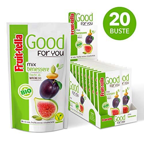 Fruittella Good For You Mix Benessere Bio, Snack di Semi, Frutta Secca e Disidratata biologico, Fonte di Magnesio - 20 Pacchetti Monodose da 35 gr