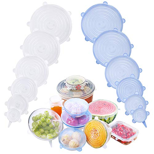 Silicone Stretch Lids 12 Pack,Silicone Stretch Lids and Food Covers...