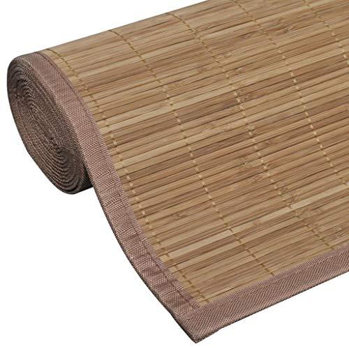 mewmewcat Tapis en Bambou Moderne pour Salon Antidérapant en PVC 160 x 230 cm (l x L) Marron