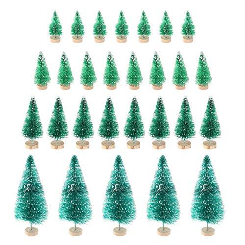 Toyvian 37pcs Mini Albero di Natale Decorazioni da Tavolo in Miniatura Ornamenti di Natale in Miniatura (Verde)