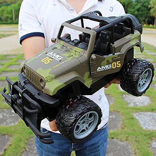 Kikioo Escala 1/24 Coche RC Anti-caída Control remoto Vehículo todoterreno Camión monstruo recargable con luz y puerta abierta Modelo de coche de juguete Camión de escalada de carreras con tracción en