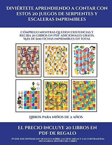 Libros para niños de 2 años (Diviértete aprendiendo a contar con estos 20 juegos de serpientes y escaleras imprimibles): Cómprelo mientras queden ... Más de 600 fichas imprimibles en total (9)