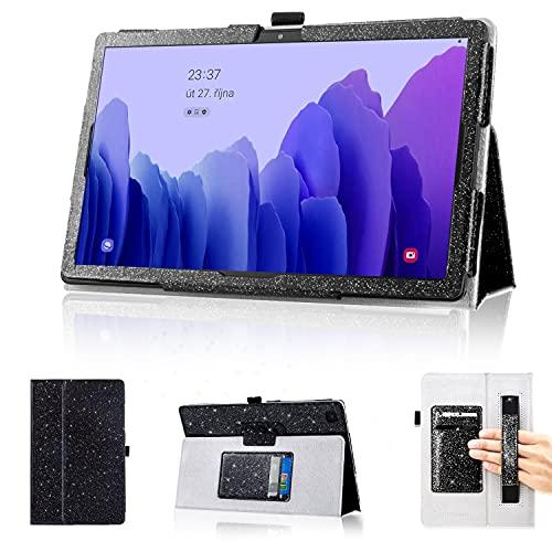 DMLuna Schutzhülle für Samsung Galaxy Tab A7 10.4 Zoll 2020 Modell (SM-T500/T505/T507), Folio-Lederhülle, automatische Weckfunktion, mit Handschlaufe/Kartenhalter, Schwarz
