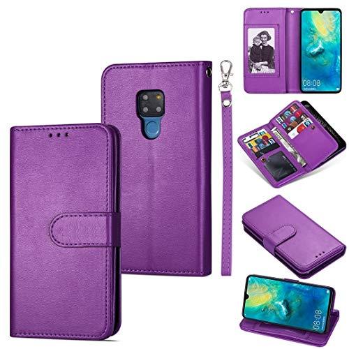 GUODONG Carcasa de telefono for Huawei Mate 20 Tarjeta Ultra Delgada 9 Funda de Cuero Horizontal Flip, con Ranuras y Soporte for Tarjetas y cordón Funda Trasera para Smartphone (Color : Purple)