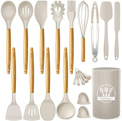 Kinfayv Silicone Cooking Utensils Kitchen Utensil Set 21 PCS Wooden Handle Nontoxic BPA Free Silicone Spoon Spatula Turner Tongs Kitchen Gadgets Utensil Set for Nonstick Cookware with Holder Khaki