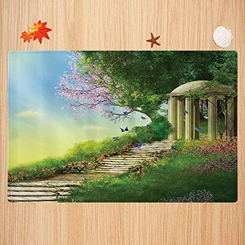 Tappeto da bagno antiscivolo 40X60cm,Fantasia, Gazebo in cima a una collina con scale in pietra e fiori Magica terra medievale, Tan Turch Tappetino da bagno morbido e assorbente
