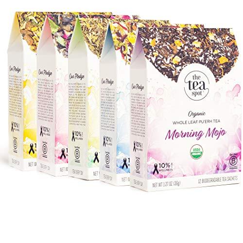 THE TEA SPOT, Organic Functional Botanical Tea Sampler | 60 Pyramid Tea Bags Count | 5 Variety Box:...