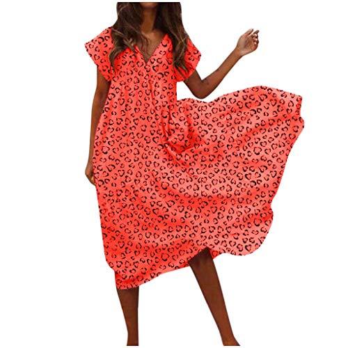 SatinGold Frauenkleider mit Leopardenmuster, Kurzarm Festes V-Ausschnitt Lockeres Bluse Petticoat Etuikleid in Große Größen