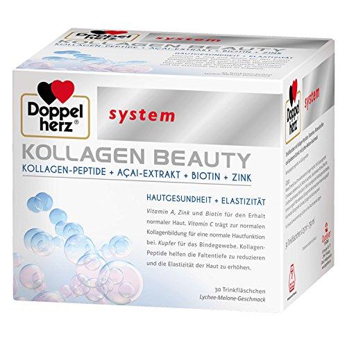 Doppelherz, 30 flaconcini da bere, Kollagen Beauty, con peptidi di collagene, estratto di acai, biotina, zinco, antirughe, per la salute della pelle (etichetta in lingua italiana non garantita)
