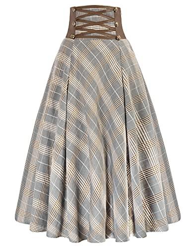 Women's Ghth Punk Plaid Midi Skirt Vintage A-Line Pleated Long Skirt Light Gray S