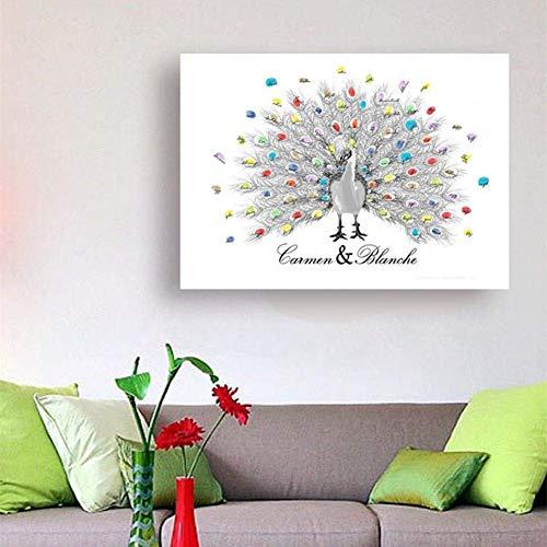ZGYQGOO Europäische Hochzeit Fingerabdruck Signatur Gemälde, 30 * 40