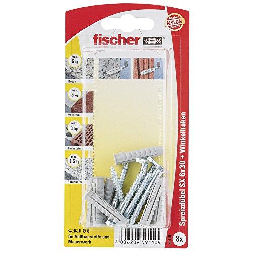 Fischer Spreizdübel SX 6 x 30 H K SB-Karte, 8 x Winkelhaken 4,2 x 40, 059110