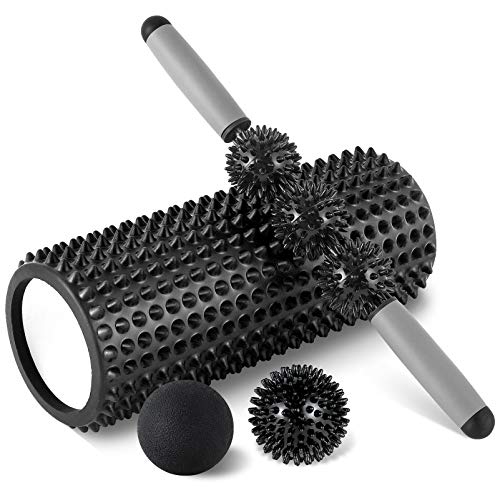 HBselect Faszienrolle 3in1 Set Wirbelsäule Foam Roller Massagerollen Duoball Massagestäbchen Massageball (schwarz A)