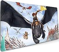 ヒックとドラゴン おしゃれ人気 ゲーミングマウスパッド洗えるマウスパッド、底部に滑り止め(サイズ:900×400×3mm)