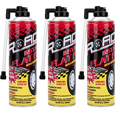 Road Instant Fixes Flat Tire Easy Hose Tire Inflator Air Filler Sealant 16oz (3 Pack)