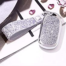 Royalfox(TM) 2 3 4 5 Buttons 3D Bling Smart keyless Entry Remote Key Fob case Cover for Buick Verano Regal Lacross Encore Envision Enclave GL8 2015 2016 2017 2018 Accessories,with Keychain (Silver)