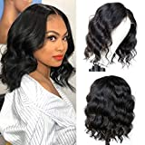Grace Length T-Part Body Wavy Bob Lace Front Wigs Human Hair Wigs for Black Women 4x1 Lace Closure Wig Brazilian Virgin Body Wave Wigs Human Hair Bob Wigs Pre Plucked with Baby Hair (12' T-Part)