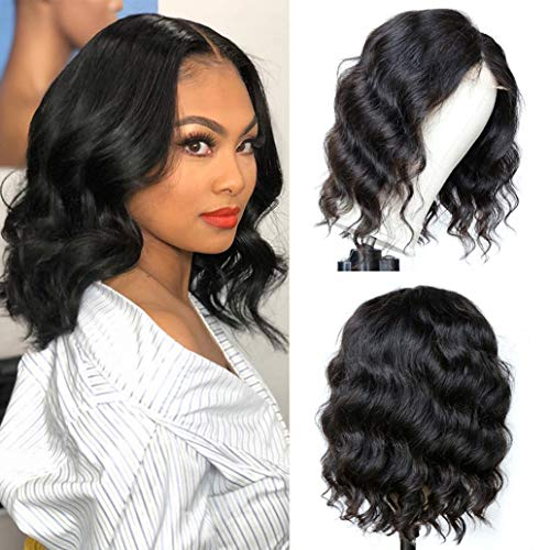"""Grace Length T-Part Body Wavy Bob Lace Front Wigs Human Hair Wigs for Black Women 4x1 Lace Closure Wig Brazilian Virgin Body Wave Wigs Human Hair Bob Wigs Pre Plucked with Baby Hair (12"""" T-Part)"""