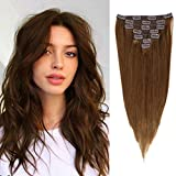Brown Clip in Human Hair Extensions 100% Unprocessed Brazilian Human Hair Golden Bronze Double Weft Long 7 Pieces/Lot 125g with 16 Clips (16', #8)