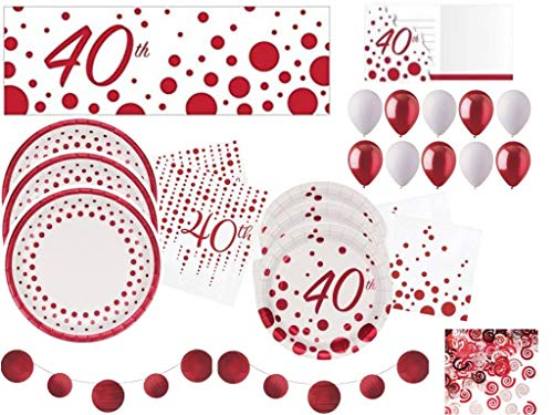 Sparkle & Shine Ruby 40th Anniversary Deluxe Tableware and Decorations Party Supplies Kit Including Plates, Napkins, Banners, Balloons, Confetti and Invitations for 24 Guests (149 Pieces)