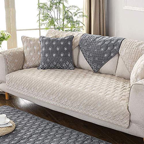 Protector de Funda de sofá de algodón Toalla de sofá, Funda nórdica Antideslizante para sofá Funda de sofá para sofá seccional Funda de sofá para Perros Cojín de sofá Amarillo 70x1