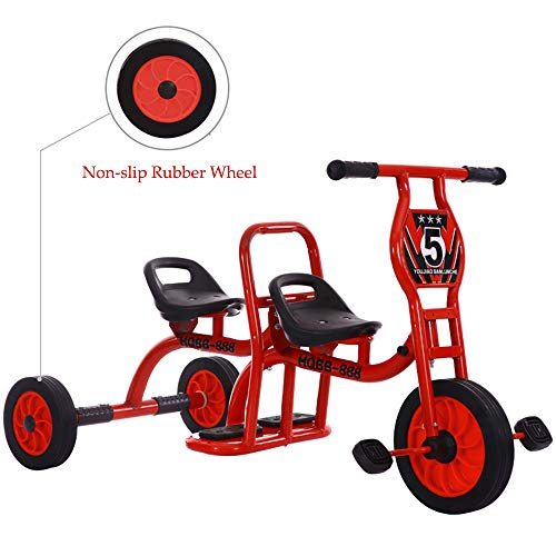 COOL-Series Tandem Bicycle for Two Children Kids Trike Children Tricycle Stroller with Trike 3 Rubber Wheel & Pedal Bike for 3 4 5 6 7 Years Old Boys Girls Kindergarten Indoor & Outdoor (Red)