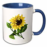 3dRose mug_60502_6'Giant Vintage Sunflower' Two Tone Blue Mug, 11 oz, Multicolor