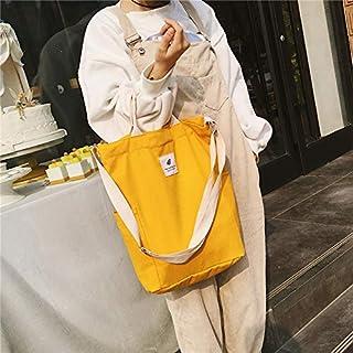 YKDY Shoulder Bag Casual Solid Color Canvas Shoulder Diagonal Bag Large Capacity Backpack Bag (Black) (Color : Yellow)