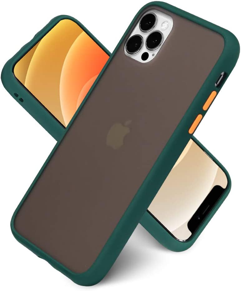 LITTLETREE Compatible with iPhone 11 Pro Max Case Matte,Translucent Matte PC with Silicone Bumper Protective Cell Phone Case 6.5 Inch. (Dark Green)
