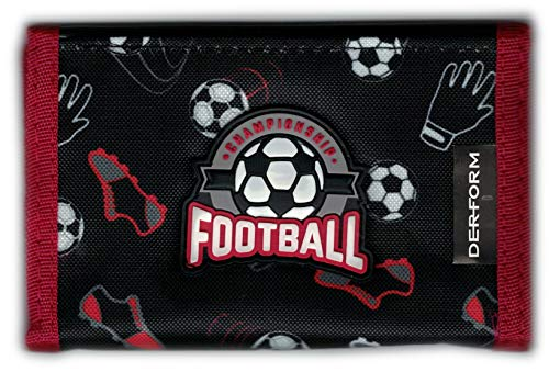 Fussball Kinder Geldbörse Geldbeutel Portemonnaie Football … (Schwarz)