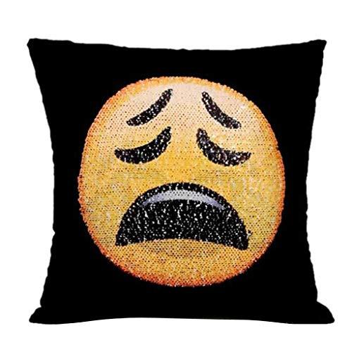 JoyRolly Funda de Almohada, Funda de Almohada de Lentejuelas Reversible, I-Bosom cojín de Cara cambiable Emoji Fundas de Almohada Funda de Almohada Decorativa de 16x16 para sofá Frowned