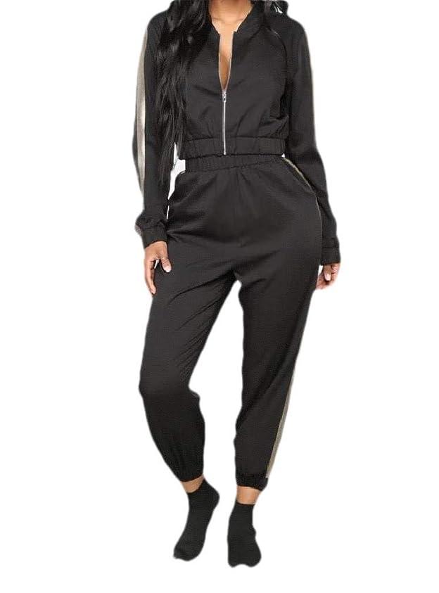 ごみ画像対立Womens Zipper With Hoodie Cropped 2 Piece Sportswear Set Activewear
