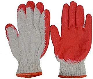 Hub Special Red Latex Rubber Palm Coated Work Cotton Gloves(100 Pairs), Heavy Duty Construction Working Gloves, Gardening, Fishing, Clamming, Restoration Work, Working Gloves for Women and Men