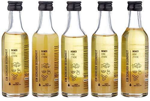 EIN SCHLUCK  GESUNDHEIT - Ginger Energy Shot  mit Ingwersaft , Honig, Zitronensaft und Kokoswasser, pasteurisiert, 5 Glasflaschen x 50 ml