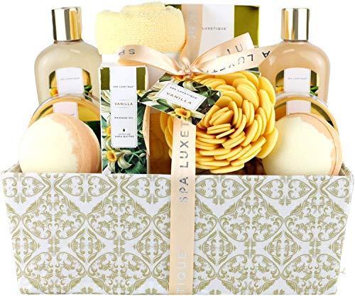 Spa Luxetique Set Bagnoschiuma Donna 12 Pezzi alla Vaniglia Confezione Regalo con Bagnoschiuma Olio per Massaggi Idea Regalo Mamma Donna Ragazza