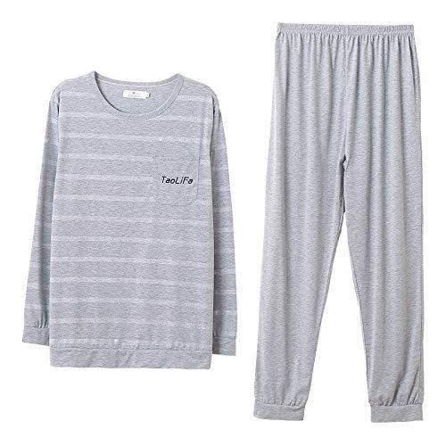 XFLOWR Gestreifte Langarm Nachtwäsche Herren Pyjamas Set Frühling Herbst Homewear Casual Homewear Männliche Pyjamas O-Neck Unterwäsche Big Yard L.