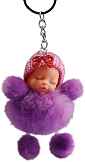 Cute Sleeping Doll Key Chain Key Chain, Iuhan Sleeping Baby Bowtie Fluffy Pompom Fur Plush Doll Keyring Keychain for Boys Girls Kids Children Adults, Super Adorable Doll Key Ring (purple)