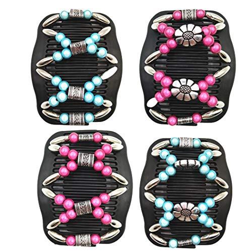 BINGMAX African Butterfly Haarklammer Afrikanische Haarspange Haarkamm Magic Hair Comb, 4 Stück