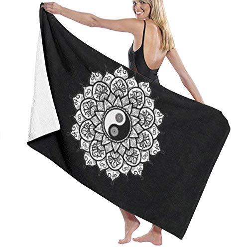 LREFON Toallas Yin Yang Mandala Pattern Paisley Leaf Petals para la Ducha,Toallas de baño, Fitness, Deportes al Aire Libre