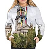 Women's Hoodies Tops,Historical American Capitol Building In Springfield Governor Politics,Lady Fashion Casual Sweatshirt,XL