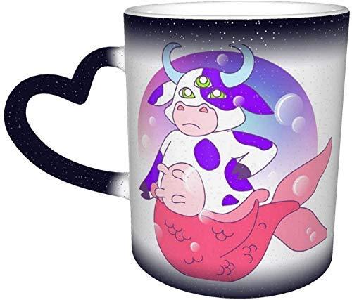 N\A Taza Que Cambia de Color de la Vaca Marina en el Cielo Taza de cerámica Taza de café Azul Regalo de cumpleaños de Navidad