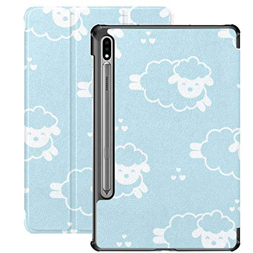 Funda Galaxy Tablet S7 Plus de 12,4 Pulgadas 2020 con Soporte para bolígrafo S, patrón de bebé de Oveja saltarina de Dibujos Animados, Funda Protectora con Soporte Delgado para Samsung